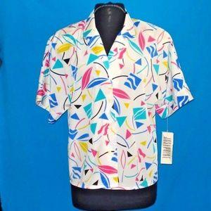 VTG Josephine Multi Color Button Down Blouse sZ 10